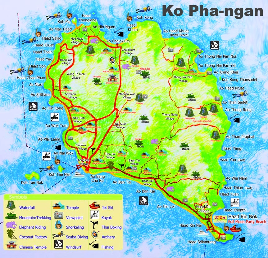 koh phangan karte Koh Phangan tourist attractions map