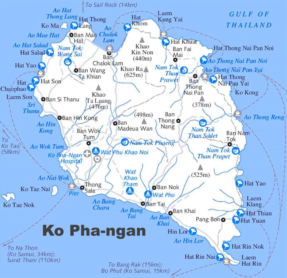 Koh Phangan Maps Thailand Maps of Ko Phangan Island