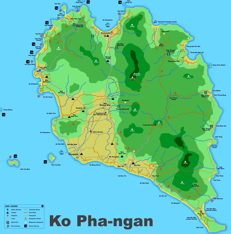 Large detailed map of Koh Phangan
