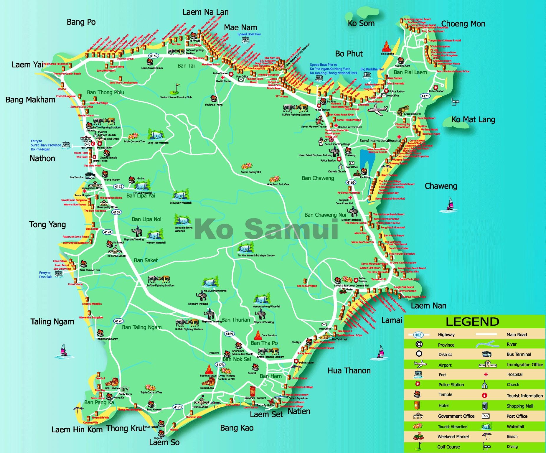 Map Of Koh Samui Koh Samui hotel map