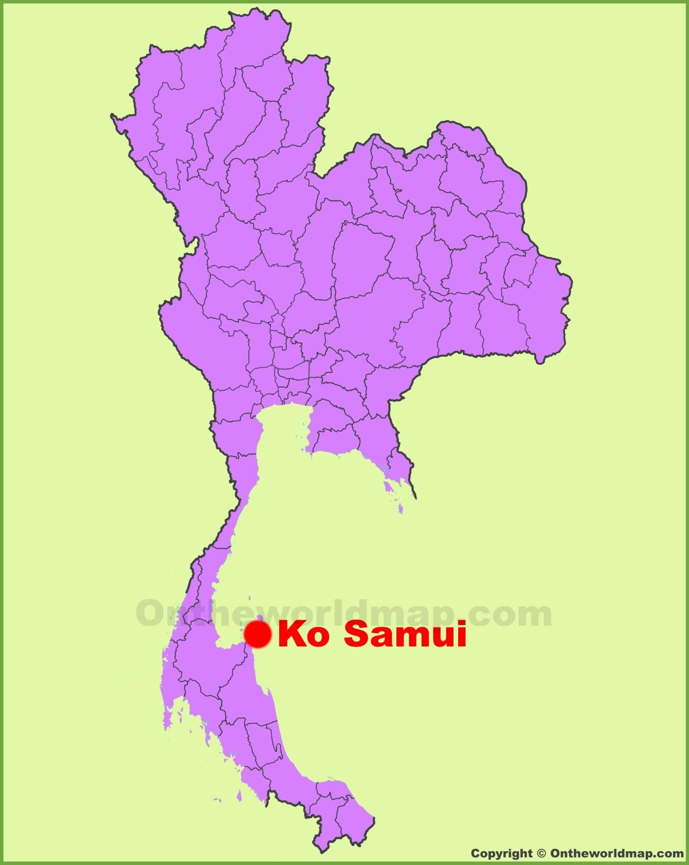 Koh Samui location on the Thailand Map