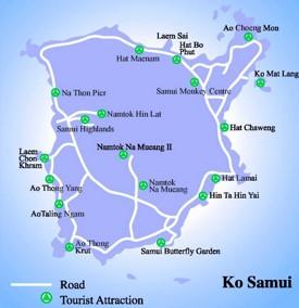 Koh Samui sightseeing map