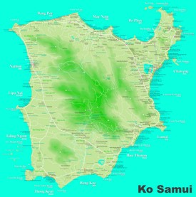 Large detailed tourist map of Koh Samui