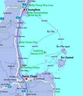 Map of Koh Samui, Ko Phangan and Koh Tao area