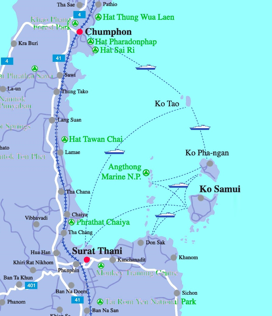 Map Of Koh Samui Ko Phangan And Koh Tao Area