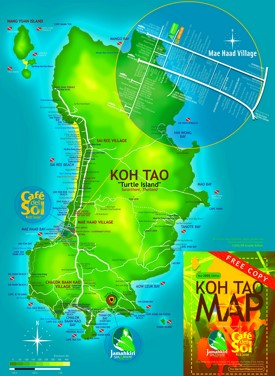 Detailed tourist map of Koh Tao