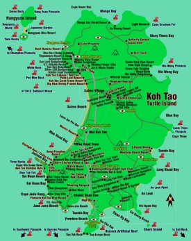 Koh Tao hotels and sightseeings map