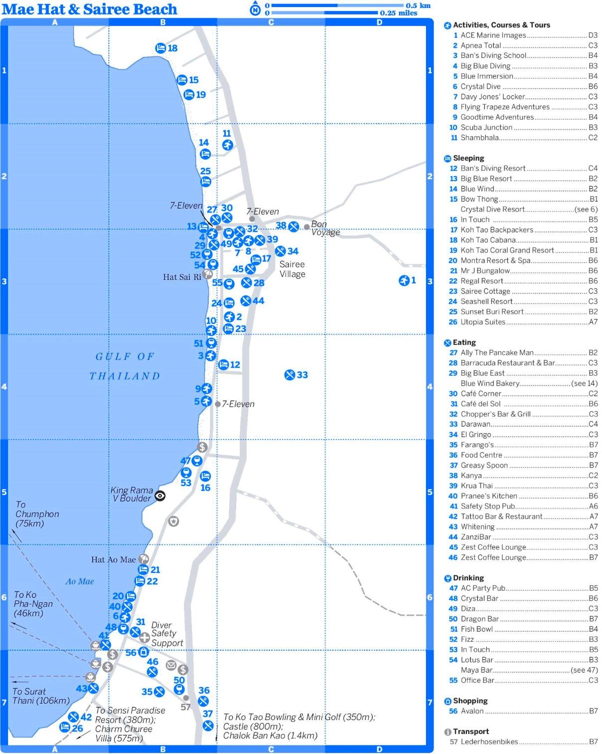 Mae Hat and Sairee Beach map