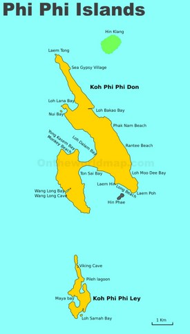 Detailed map of Phi Phi Islands