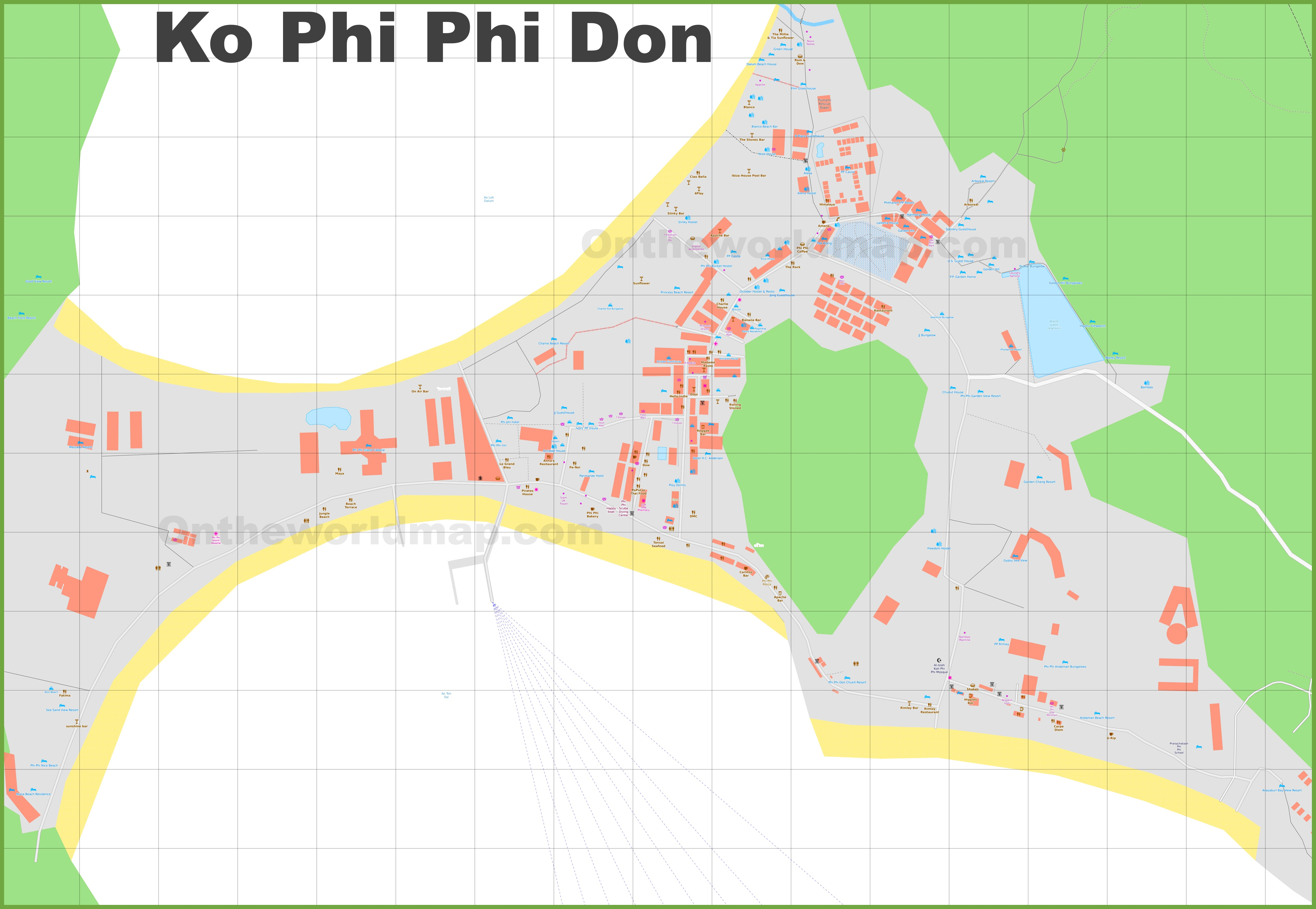 Phi Phi Don hotel map