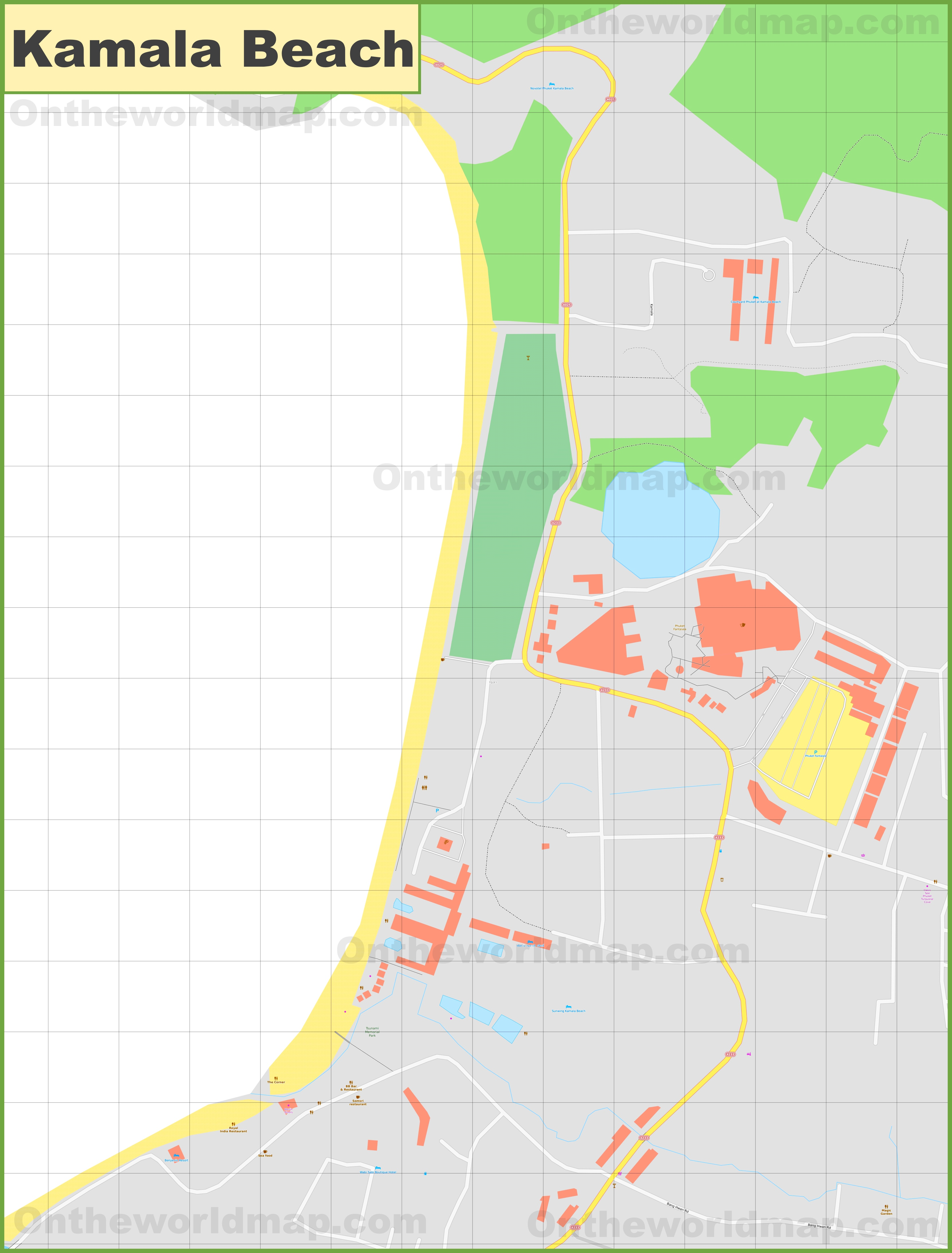 Large detailed map of Kamala Beach