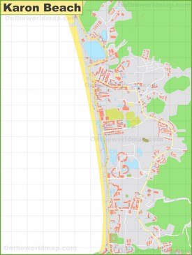 Large detailed map of Karon Beach