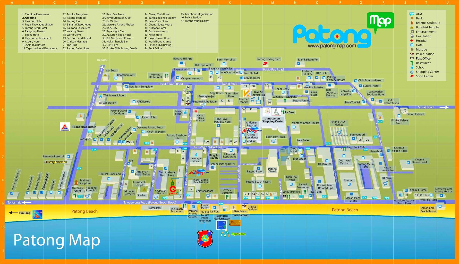 Patong Beach Tourist Map