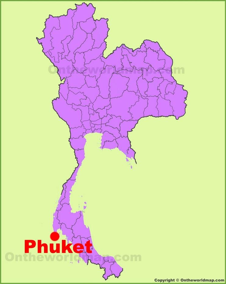 Phuket location on the Thailand Map