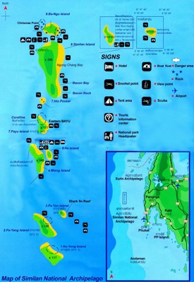 Similan Islands sightseeing map