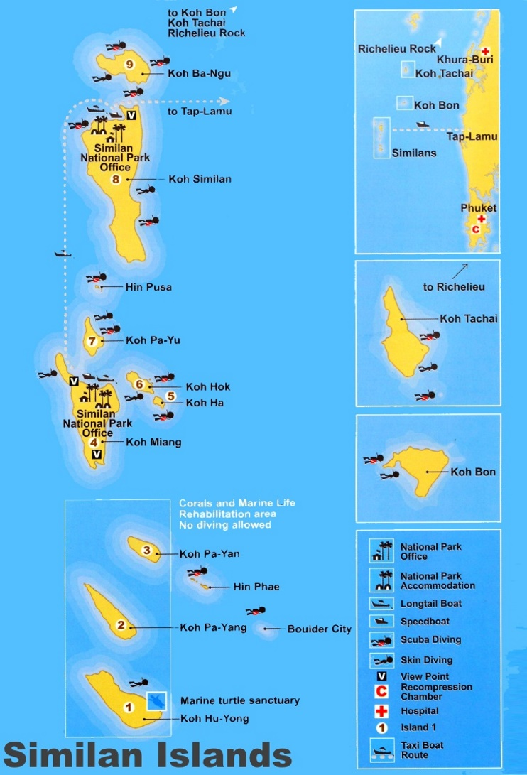 Similan Islands tourist map