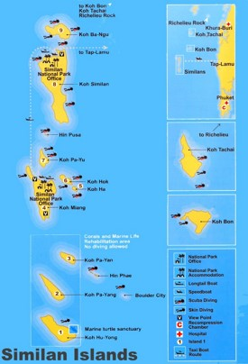 Similan Islands Maps Thailand Maps of Similan Islands