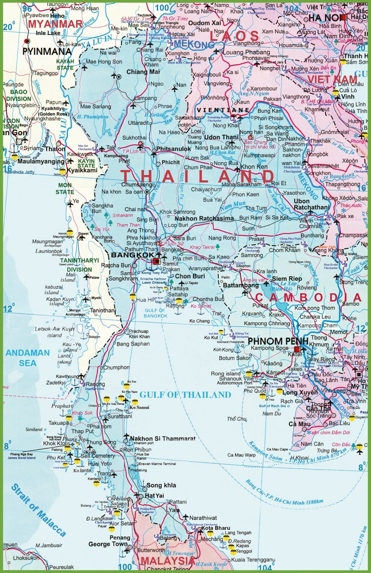 Large detailed map of Thailand with airports resorts and beaches