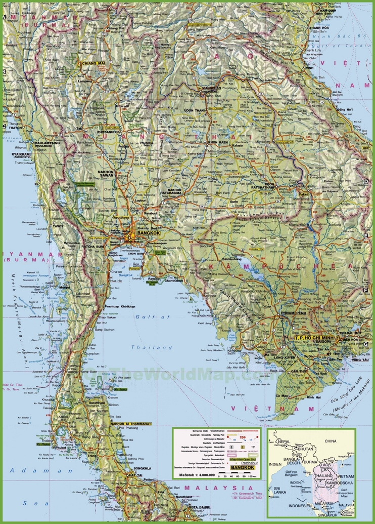 Large detailed map of Thailand with cities and towns