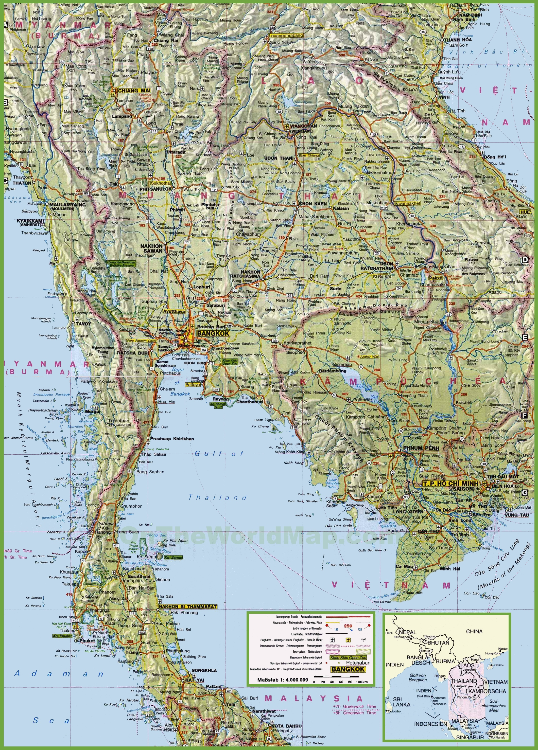 Large Detailed Map Of Thailand With Cities And Towns - Map of the world detailed