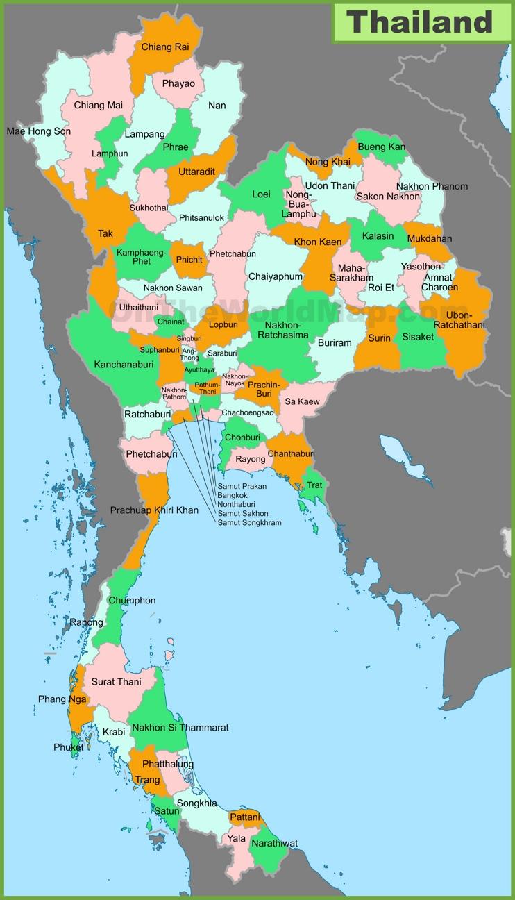 Thailand provinces map