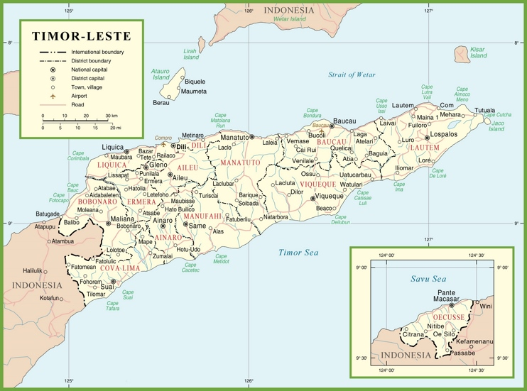 Large detailed political map of East Timor with cities and towns