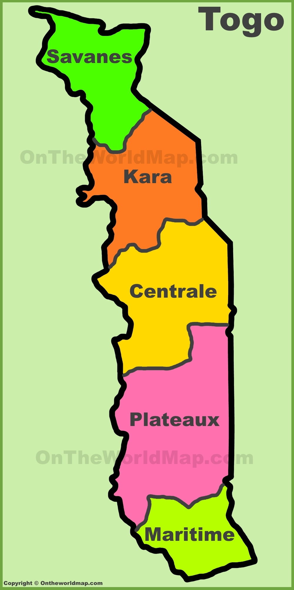 Administrative divisions map of Togo