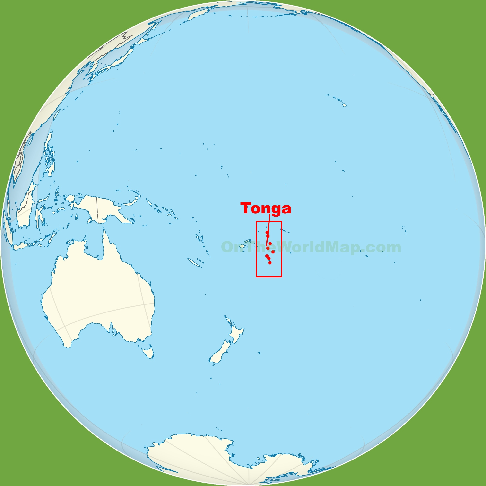 Tonga location on the Pacific Ocean map