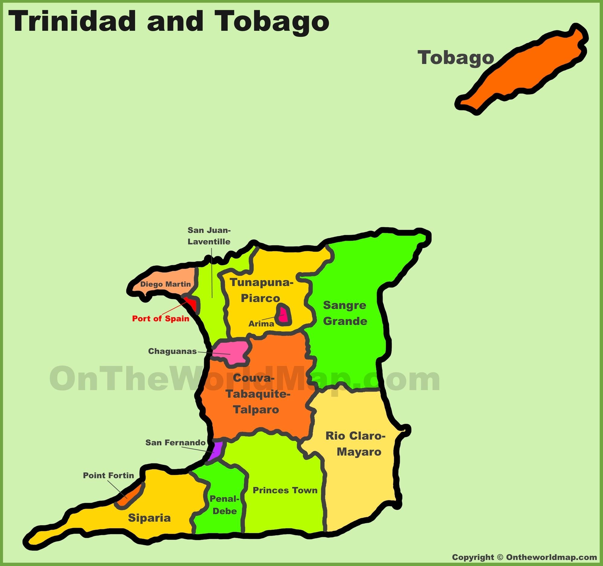 Map Of Trinidad And Tobago Administrative divisions map of Trinidad and Tobago Map Of Trinidad And Tobago