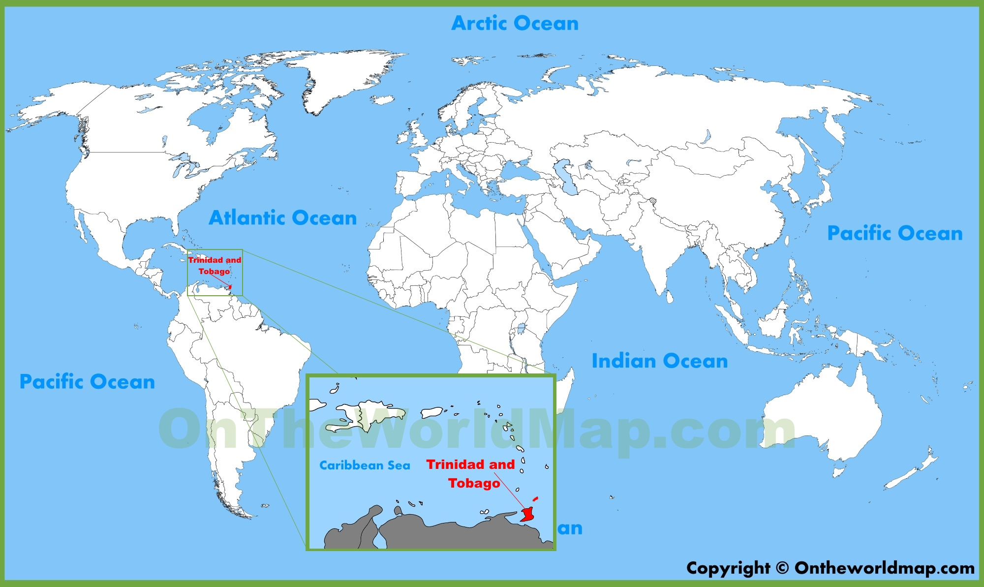 Trinidad On World Map Trinidad and Tobago location on the World Map