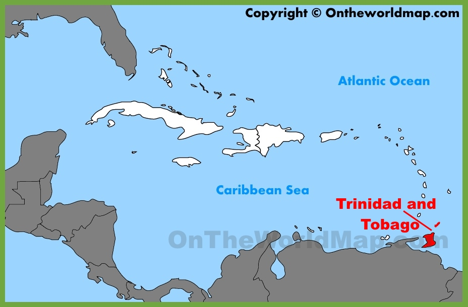 Trinidad and Tobago location on the Caribbean map