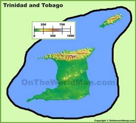 Trinidad and Tobago physical map
