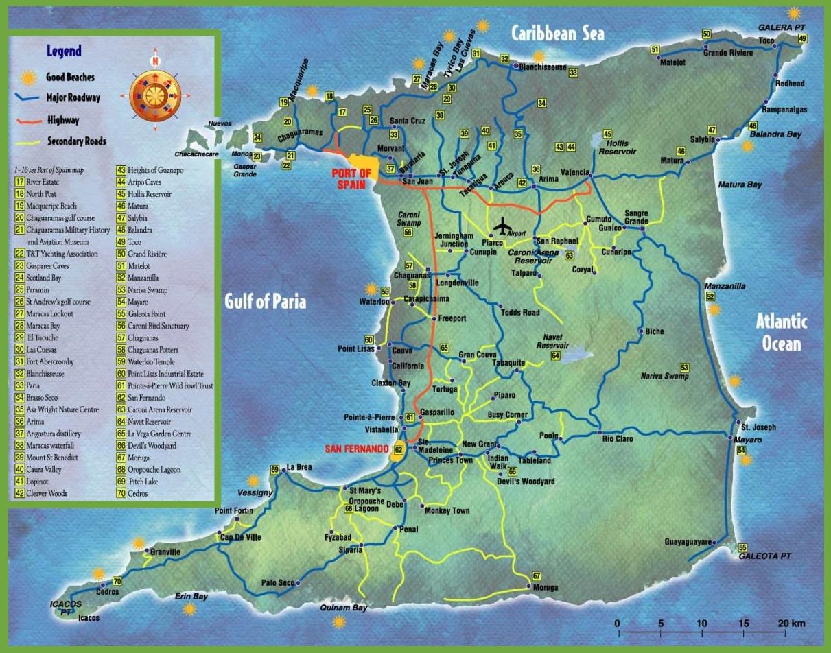 Map Of Trinidad Trinidad tourist map Map Of Trinidad