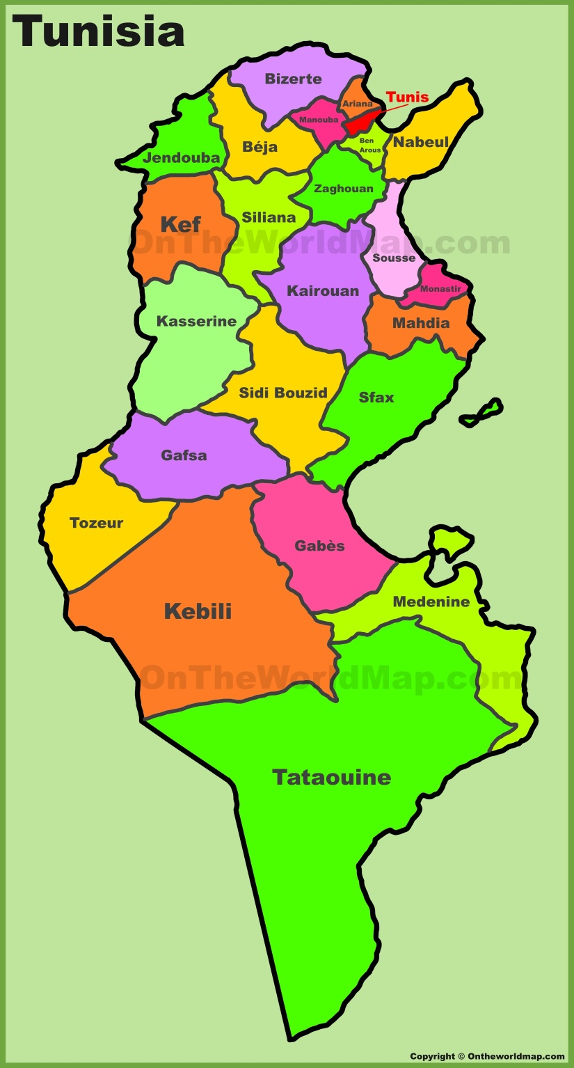 Administrative divisions map of Tunisia