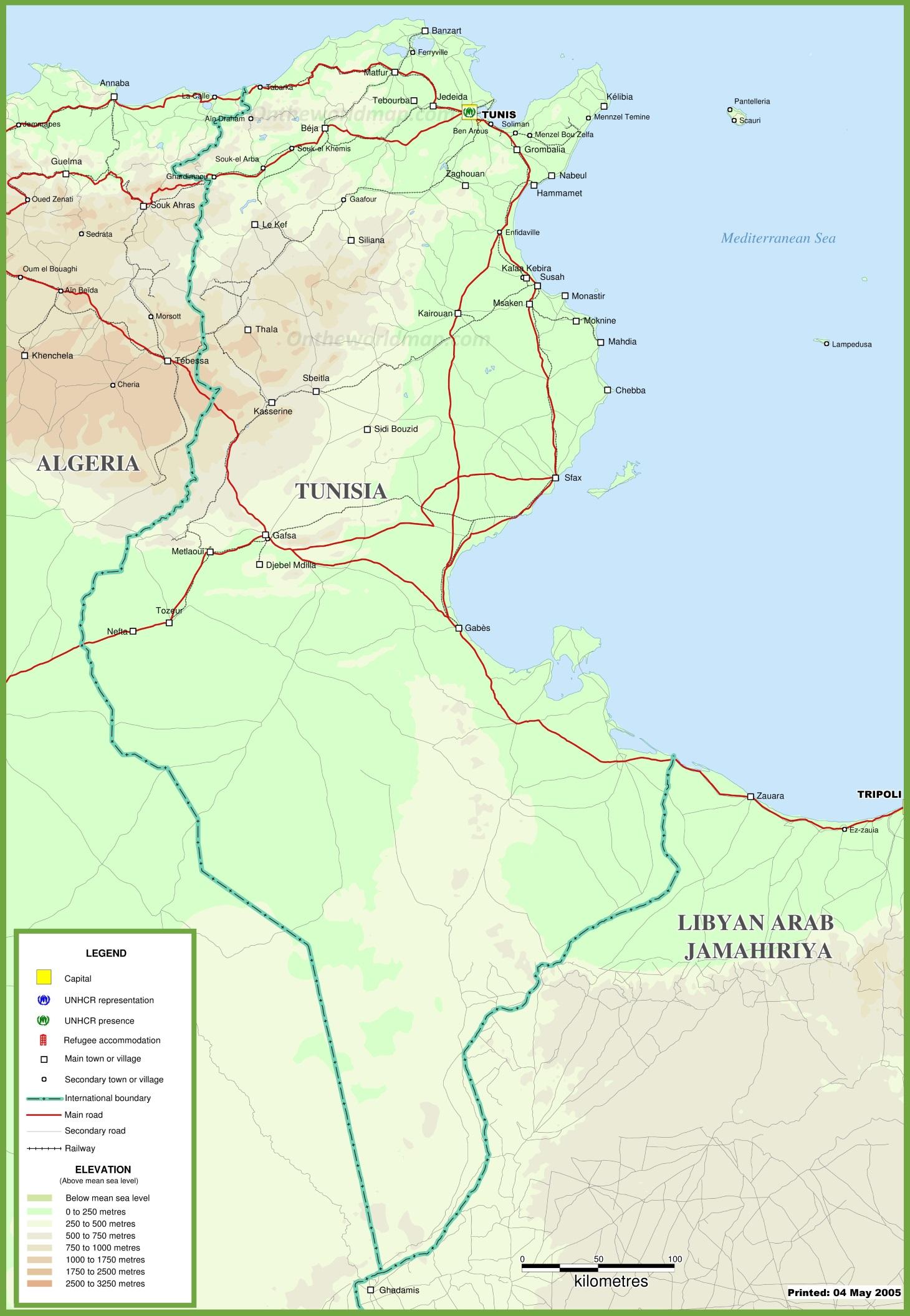 Tunisia Physical Map - Physical tunisia map