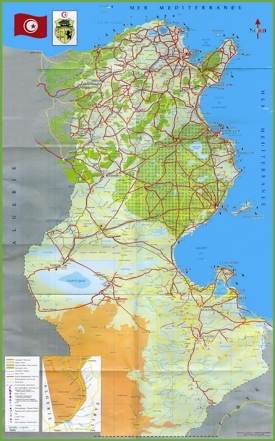 Tunisia tourist map
