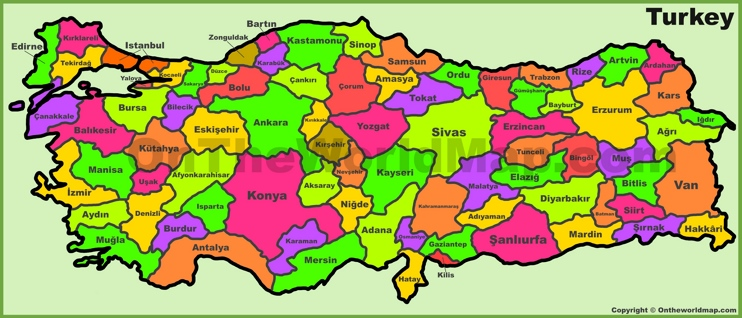 Administrative divisions map of Turkey