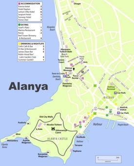 Alanya tourist map