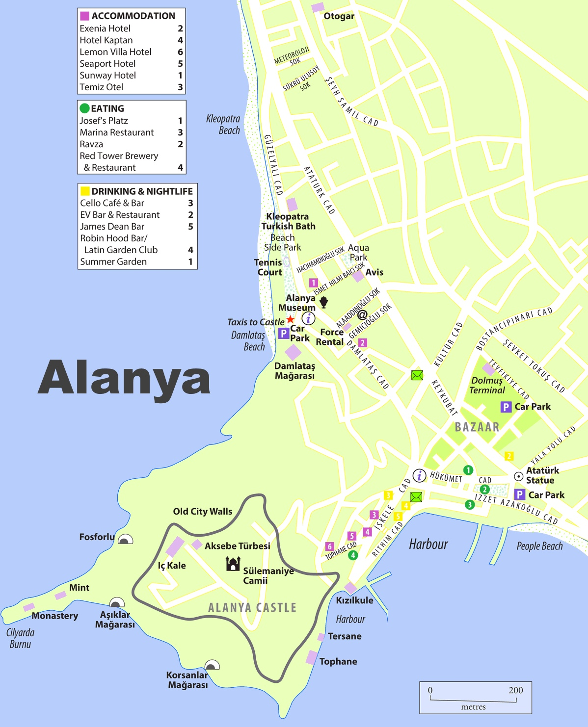 Alanya tourist map