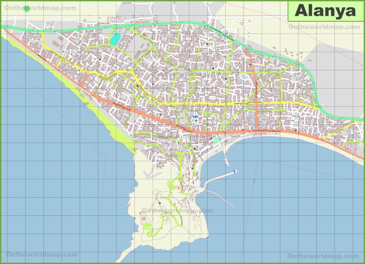 Large detailed map of Alanya