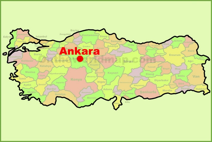 Ankara location on the Turkey Map