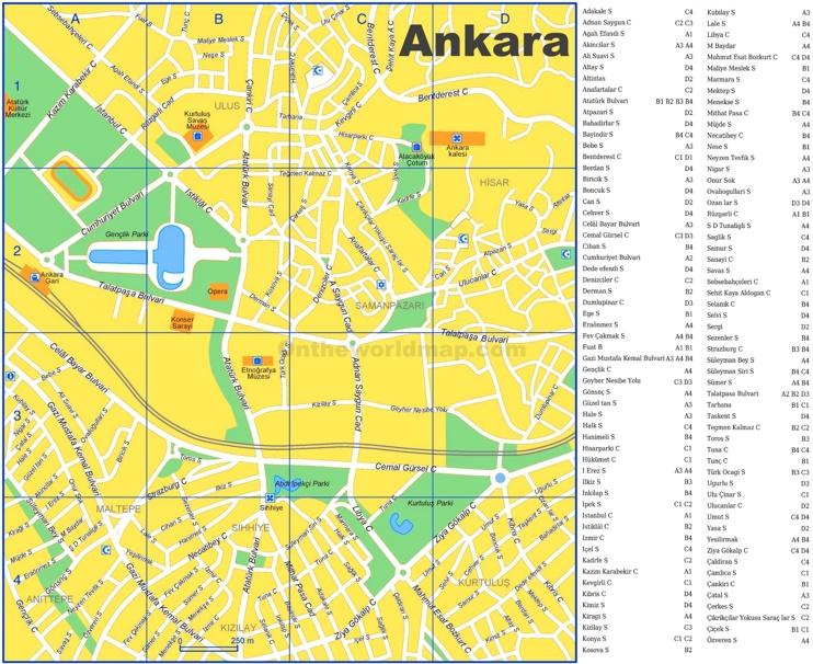 Ankara tourist map