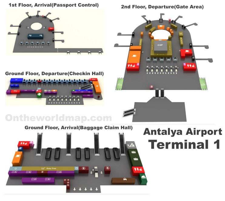 Antalya Airport Terminal 1 Map