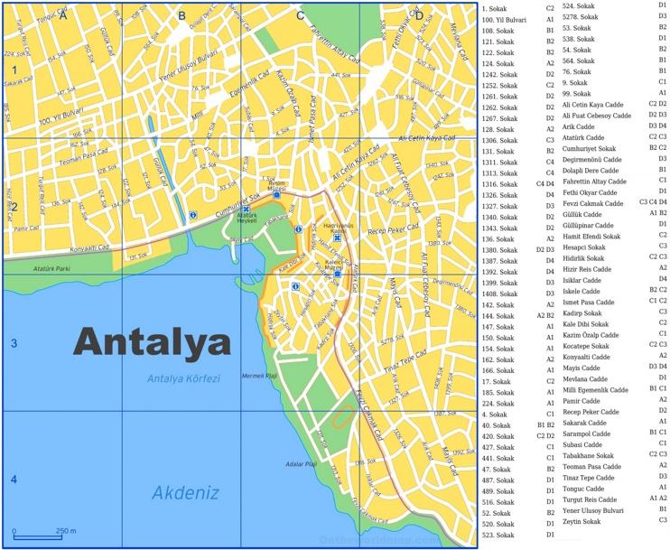 Antalya city center map