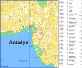 Antalya city center map