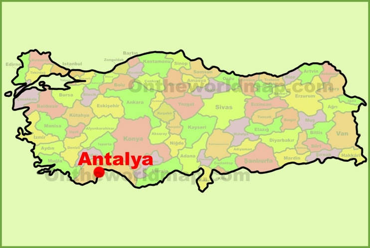 Antalya location on the Turkey Map
