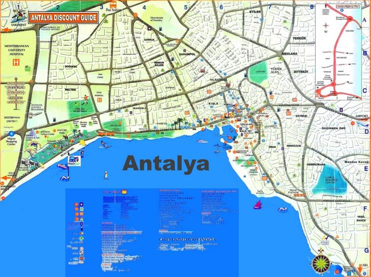 Antalya tourist map