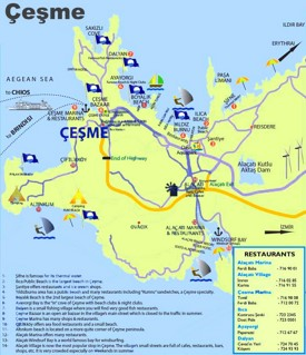 Çeşme area tourist attractions map