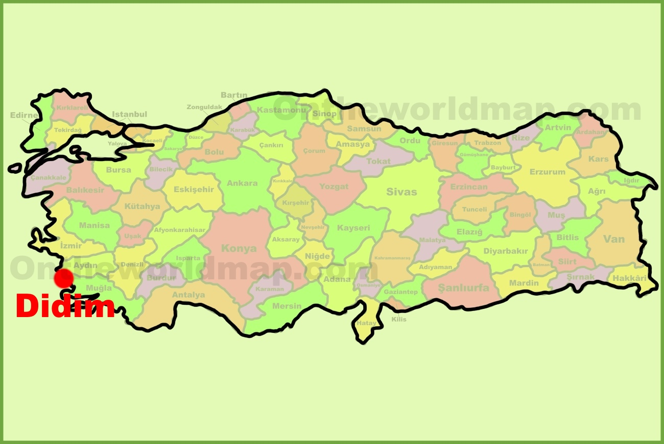 Didim location on the turkey map sciox Images