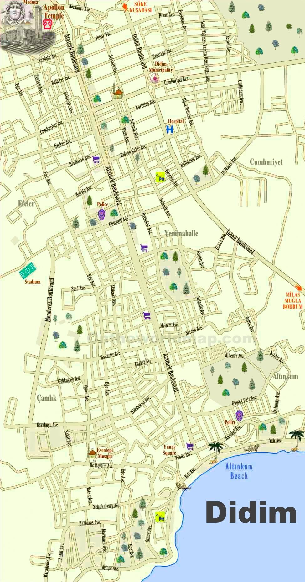 Didim tourist map